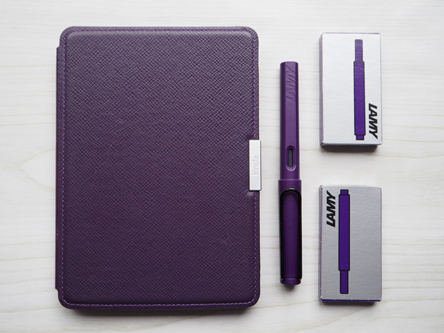 My Kindle Paperwhite alongside the Lamy Safari Dark Lilac Fountain Pen and Lamy T10 Dark Lilac Ink Cartridges