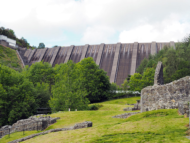 Bryntail Lead Mine with the imposing Clywedog Dam