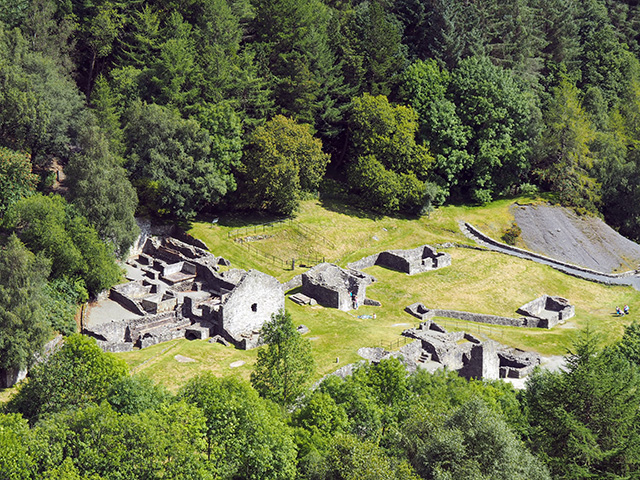 Bryntail Lead Mine Ruins from Clwyedog Dam