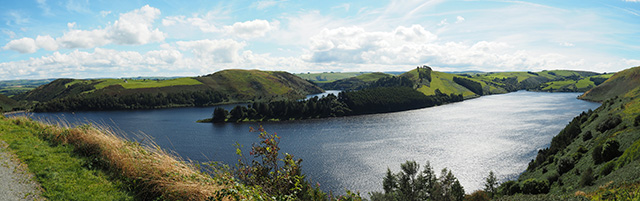 Panoramic view of Llyn Clywedog
