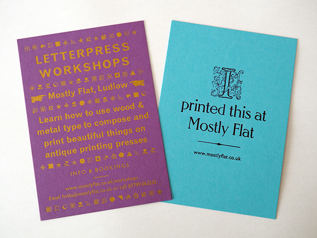 The letterpress cards I printed at Mostly Flat