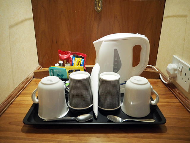 Tea and coffee machine facilities in Room 203