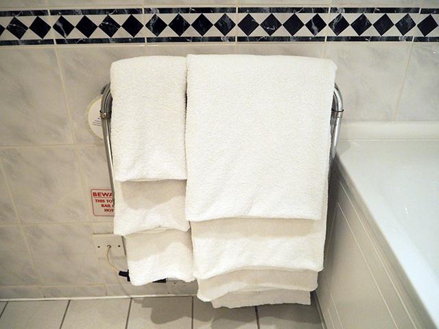 Heated towel rail in Room 203