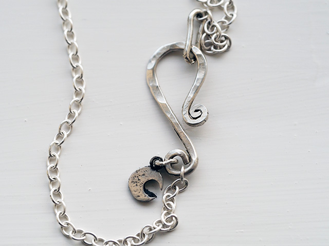 Silver necklace with Shepherd's Hook and Crescent Moon Charm