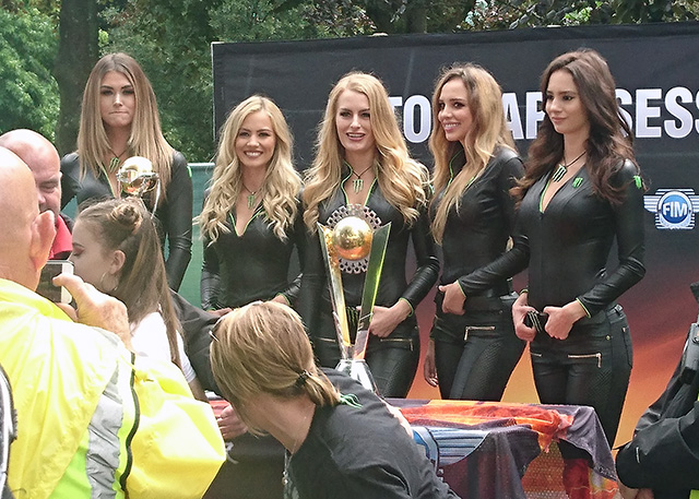 Girls with the Speedway Trophy