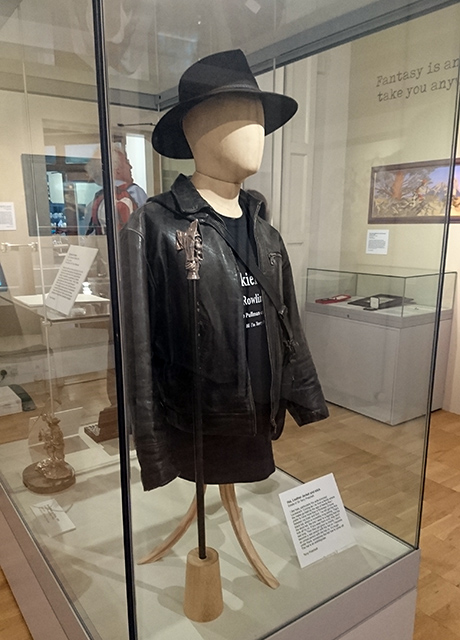 Terry Pratchett's hat, leather jacket and stick.