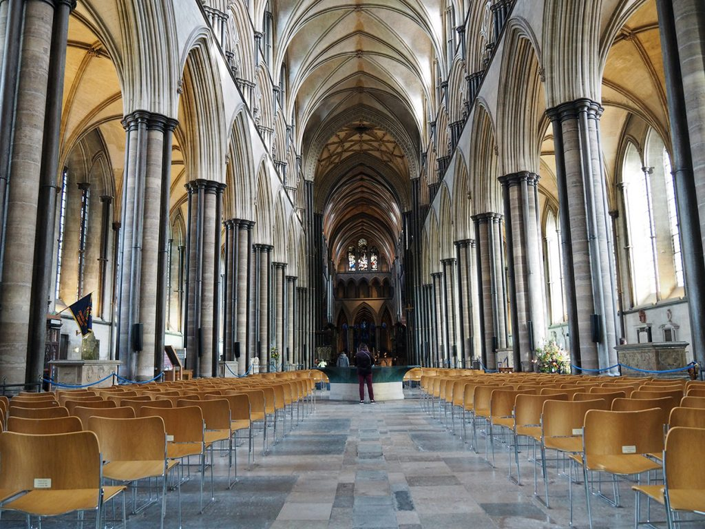 The main aisle at Salisbury Cathedral.