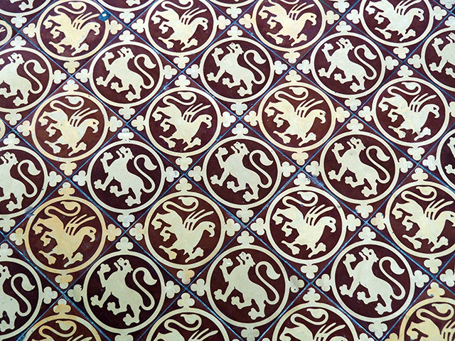 The tiled floor in the Chapter House.