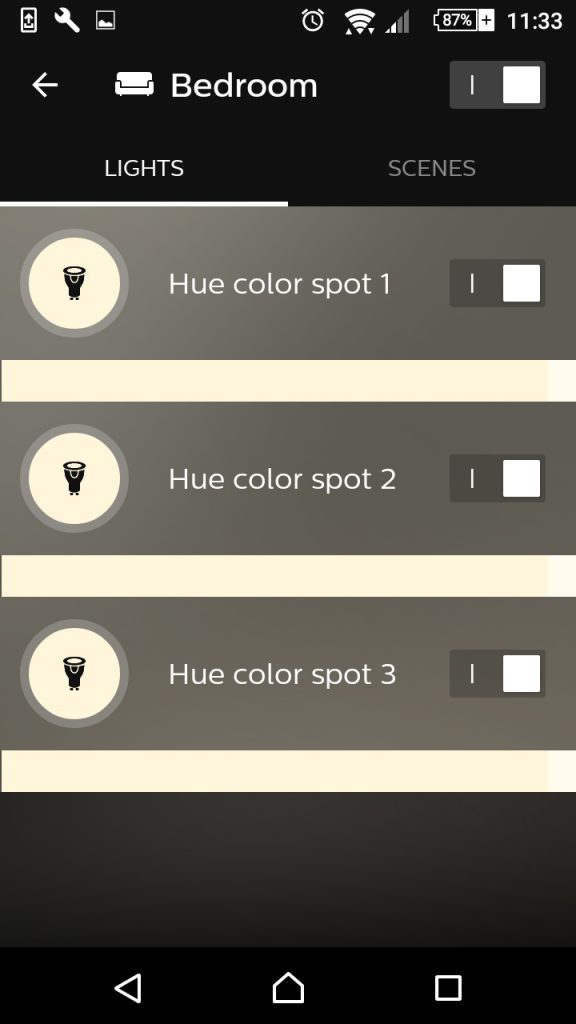 Philips Hue app screenshot