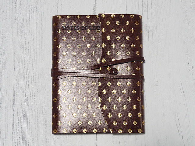 Fleur De Lys Small Gold Handmade Recycled Leather Wrap Journal