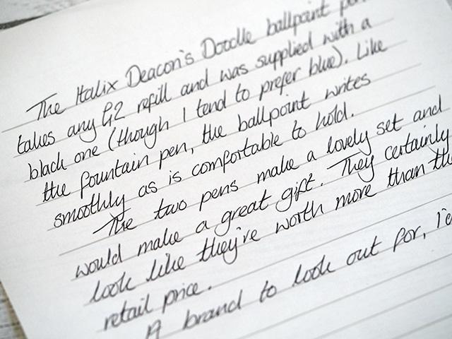 Italix Deacon's Doodle ballpoint handwriting