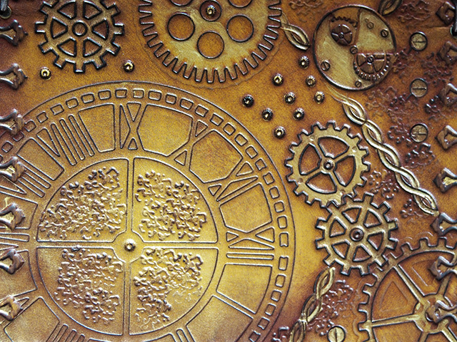 Close-up of the steampunk design