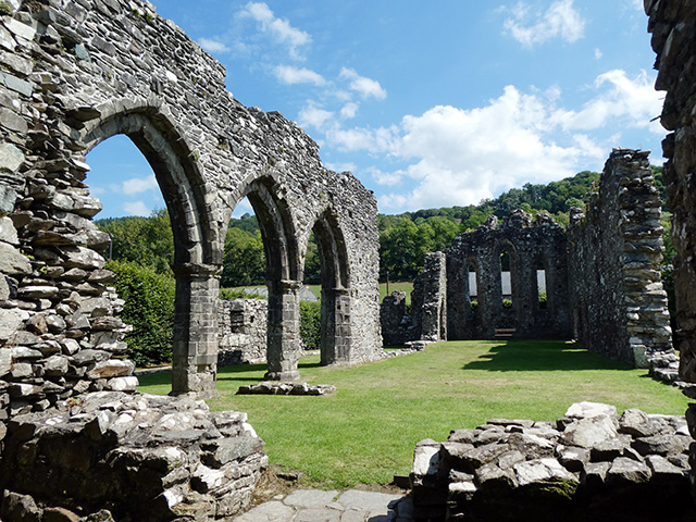 Inside the ruins of Cymer Abbey.