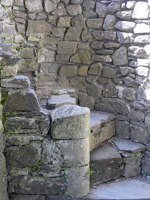 The beginnings of a spiral staircase at Cymer Abbey.