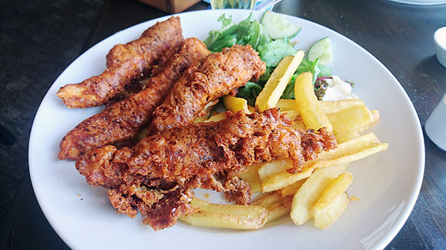 Southern fried chicken goujons and chips (after I'd started tucking in!).