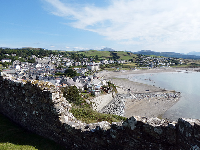 Looking at the east beach from Criccieth Castle.