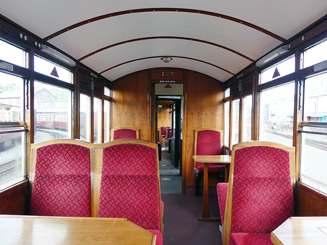Inside our carriage on the Ffestiniog Railway.