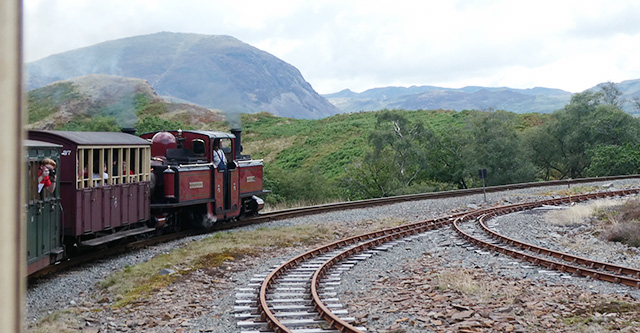 Our train climbing up the Ffestiniog Railway.