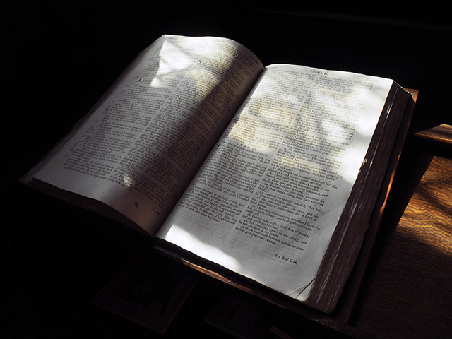 A bible in the church.