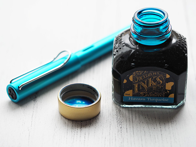 Lamy AL-star Pacific Blue Fountain Pen with Diamine Havasu Turquoise Ink