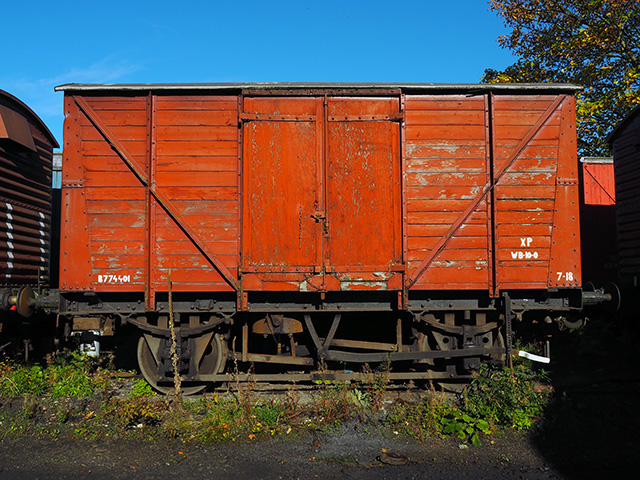 A goods carriage in the engine yard.