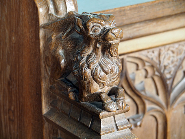 A woodcarving on the choir stalls.
