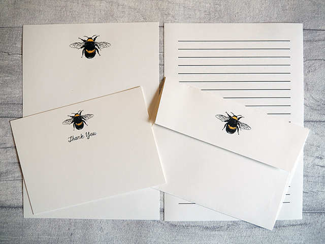 Bumble bee stationery from Wagtail Designs.