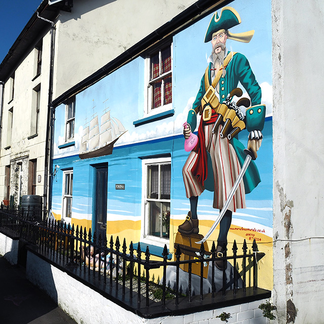 12ft tall Pirate Paul on a house in Borth.