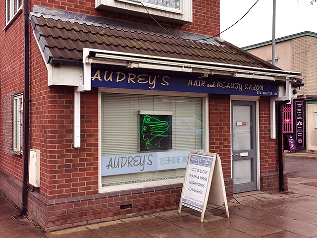 Audrey's Salon. Sadly not open... I could've done with a new hair-do!