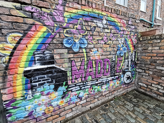 Maddie's mural in the ginnel.