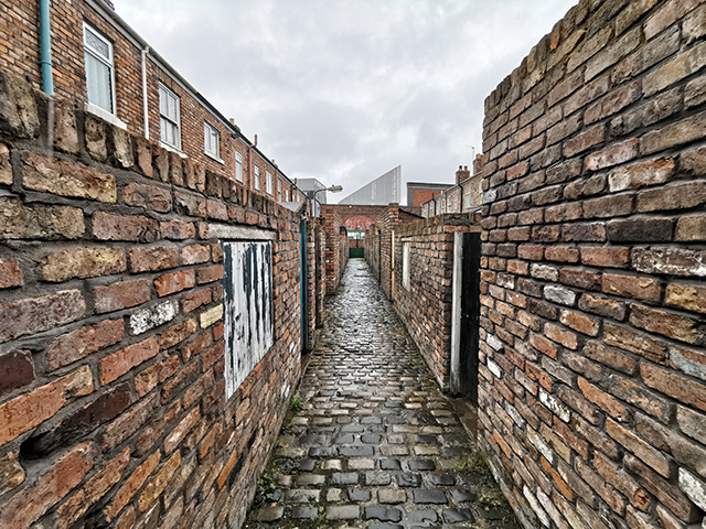 The ginnel at the back of Coronation Street.