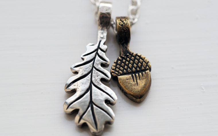 My silver oak leaf and bronze acorn pendants from Hairy Growler.