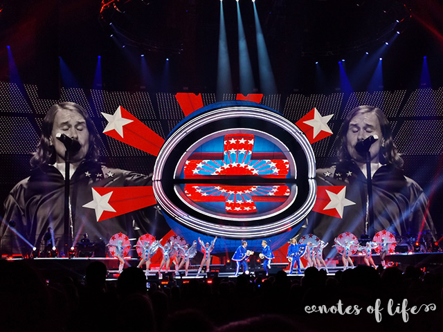 Take That on stage (Manchester Arena).
