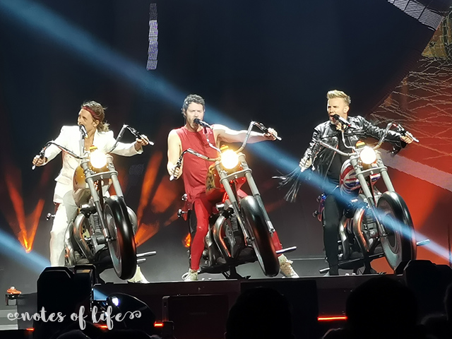 Take That on their stage motorbikes (Manchester Arena).