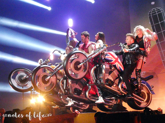 Take That on their stage motorbikes (Arena Birmingham).