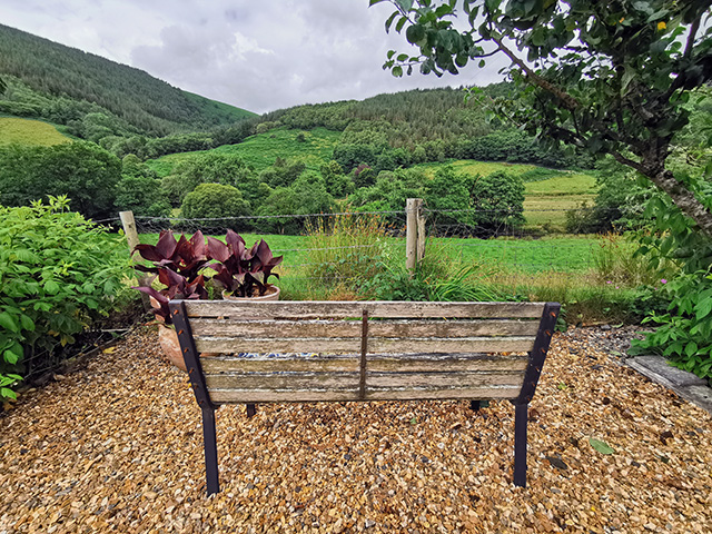 A bench looking over the Dyfi Valley.