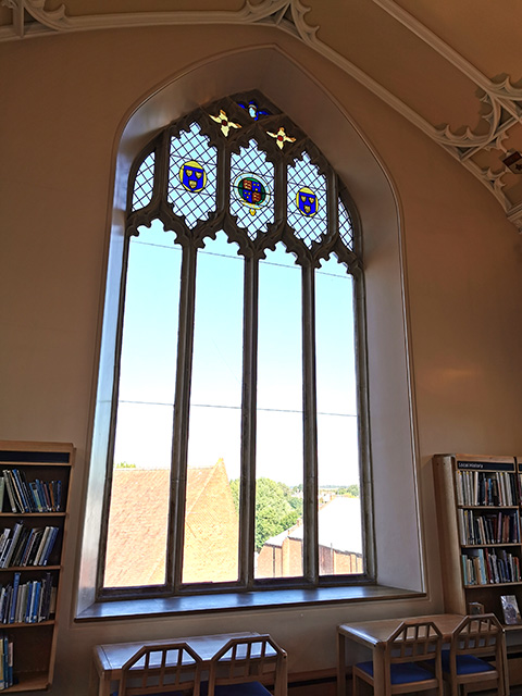 A window in the West Wing of the Library.