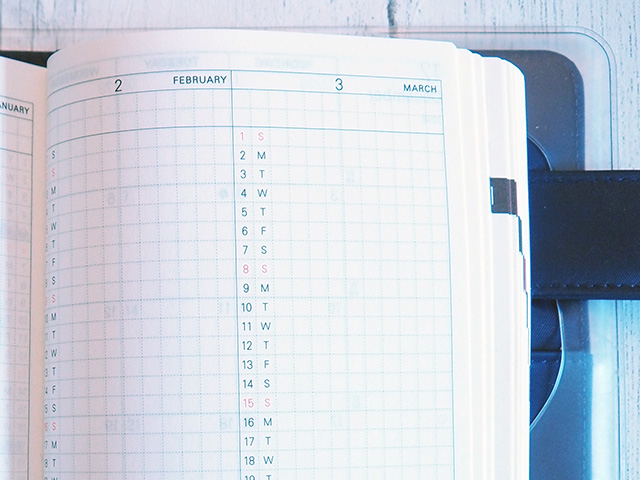 Vertical monthly calendars in the Hobonichi Techo.