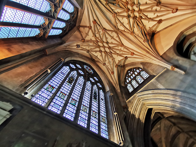 Looking up in the north transept.