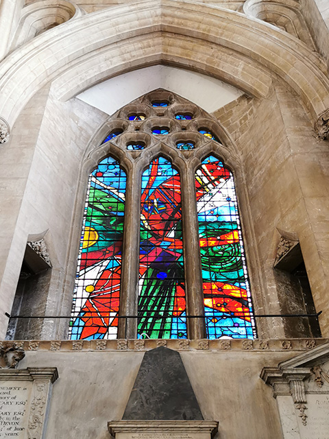 A stained glass window in the South Choir Aisle.