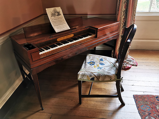 A square piano in the Small Drawing Room.