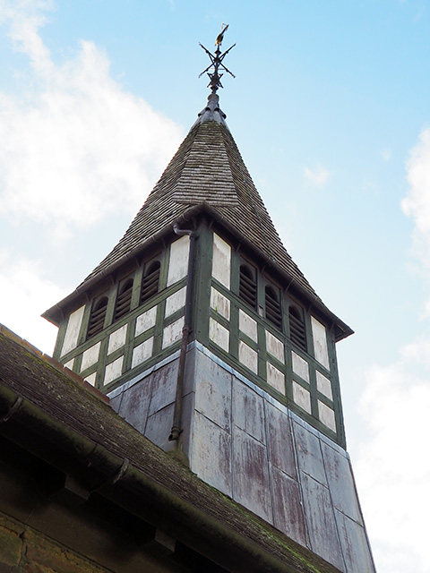 Looking up at the church tower.