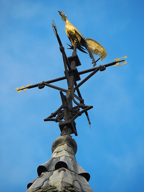 The wonderful weather vane on top of the church tower.