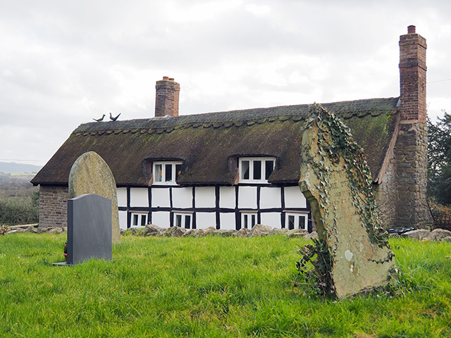 A thatched cottage across the lane from the church.