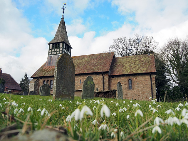 St Mary's Church, Bedstone and it's snowdrops.