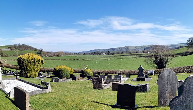 Looking down the valley from the cemetery.