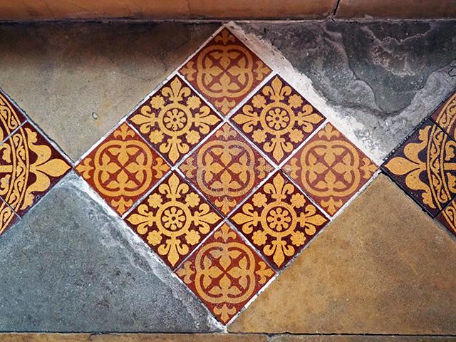 A decorative floor tile.
