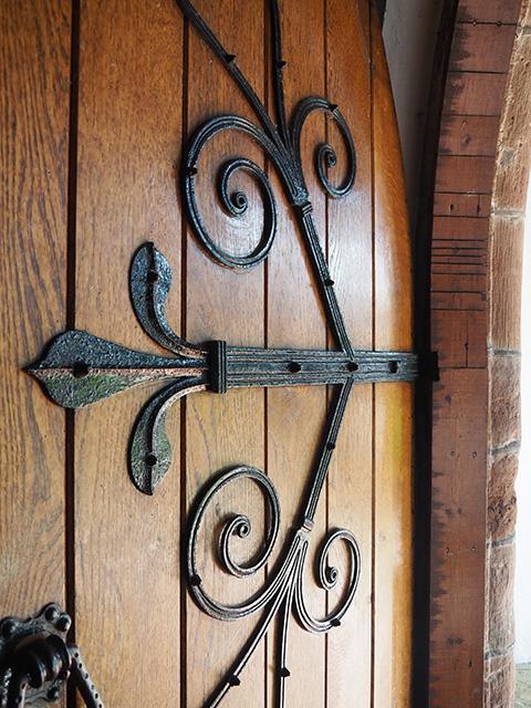 The church door.