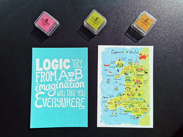 Postcards and ink pads.