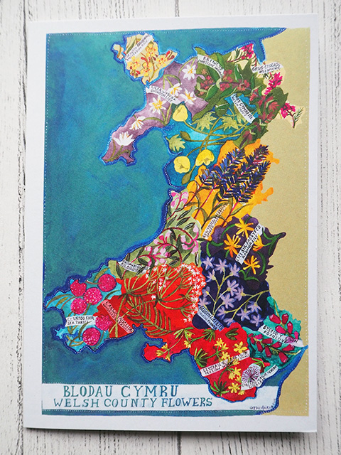 Illustrated flowers of Wales card.